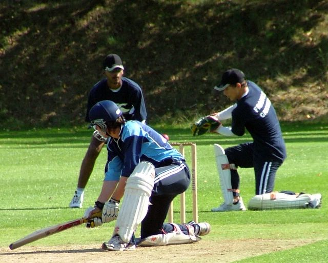 Another take by the 15-year old wicketkeeper. Be impressed for I know his name! It's Jonathan Houghton.
