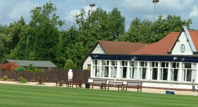 The pavillion at New Anniesland which Victoria are searching for the ball behind