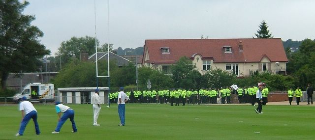 The Israel players get braver on the Sunday. On Saturday they warmed up at the furthest point from the protestors.