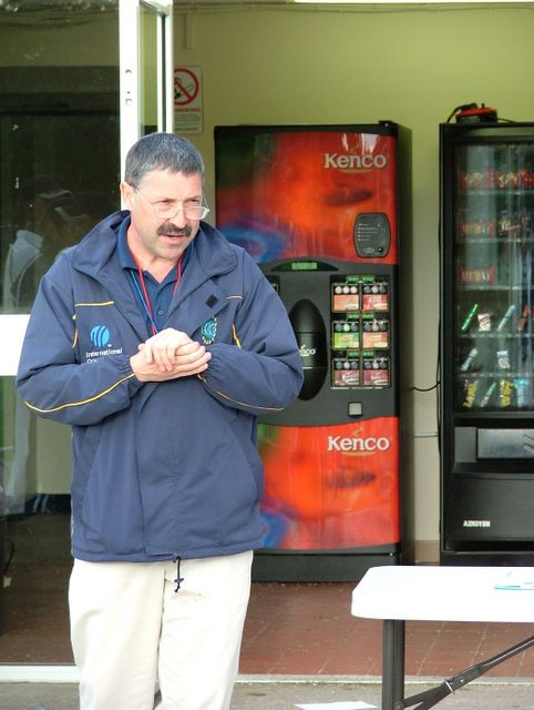 A nice picture of the products available from the vending machines at New Anniesland. The man is Tournament Referee, David Jukes.