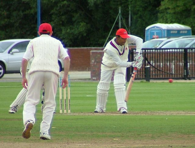 Norway batsman blocking out the attack.