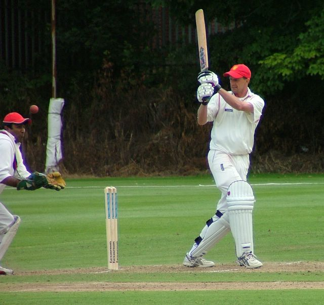 Jersey�s batsmen attempt the chase.