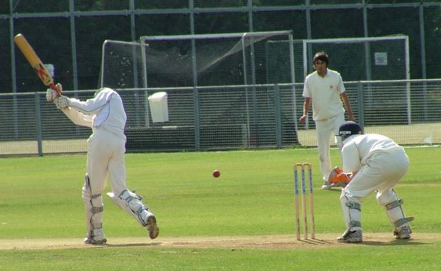 Andy Dodson tests out the wicketkeeper early on - he was mince - so Andy continued his innings