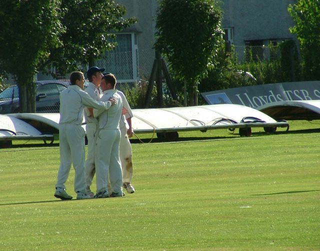 Shez and Dan celebrate their wicket taking combination once more