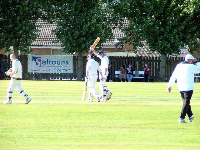 Dan celebrates his second ton of the year. Marvellous effort that!